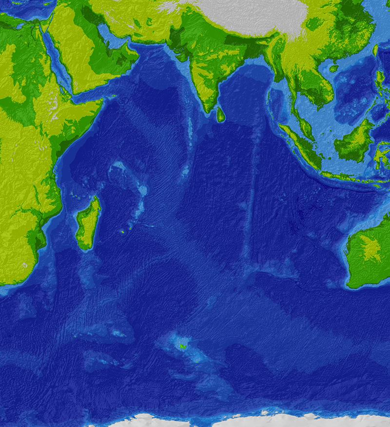 Карта глубин Индийского океана