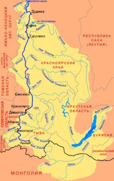 Карта реки Енисей