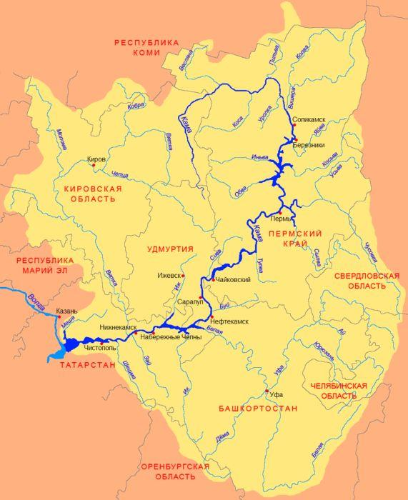 Карта реки Кама
