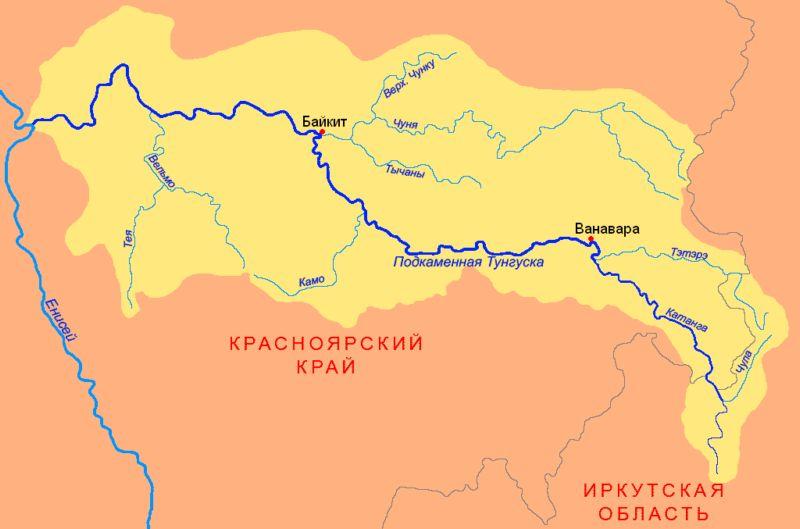 Карта реки Подкаменная Тунгуска