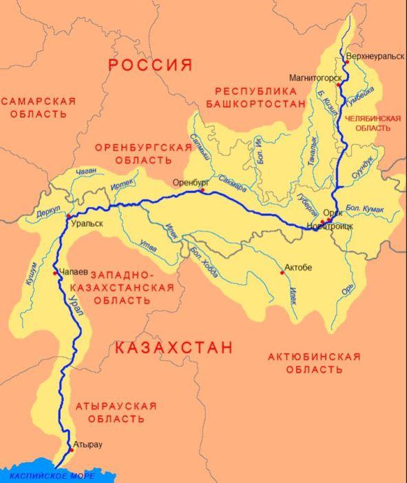 Карта реки Урал