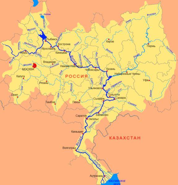 Карта реки Волга