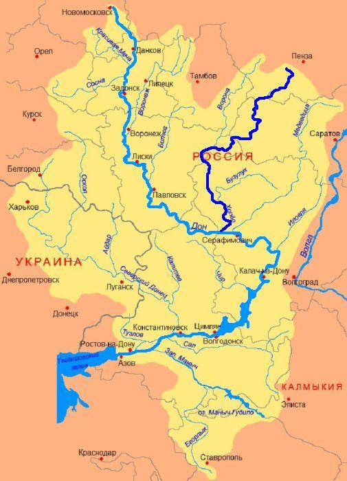 Карта реки Хопёр