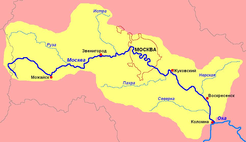 Карта реки Москва