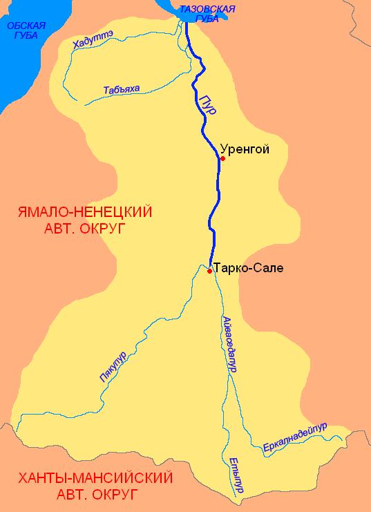 Карта реки Пур