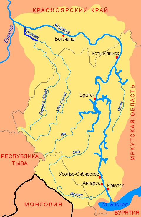 Карта реки Тасеева
