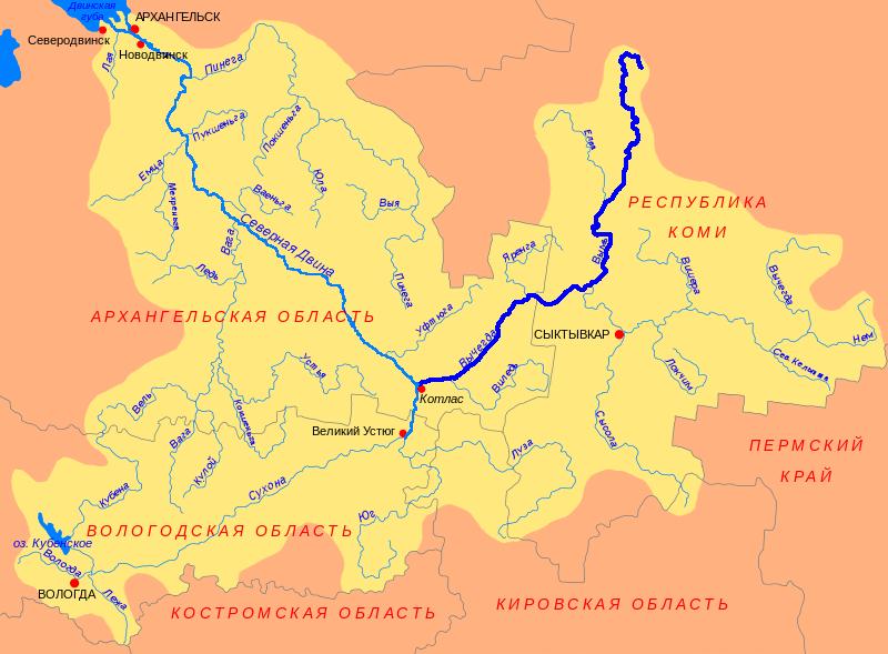 Карта реки Вычегда